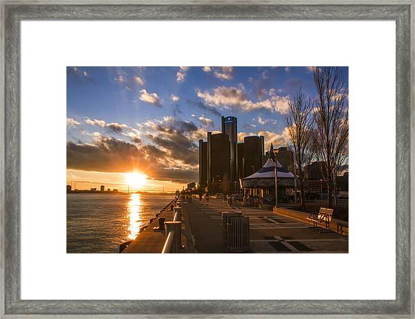 Sunset In Detroit  Framed Print