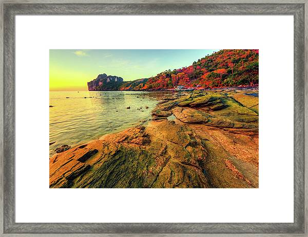 Sunset In Phi-phi Don Island, Thailand Framed Print by Moreiso