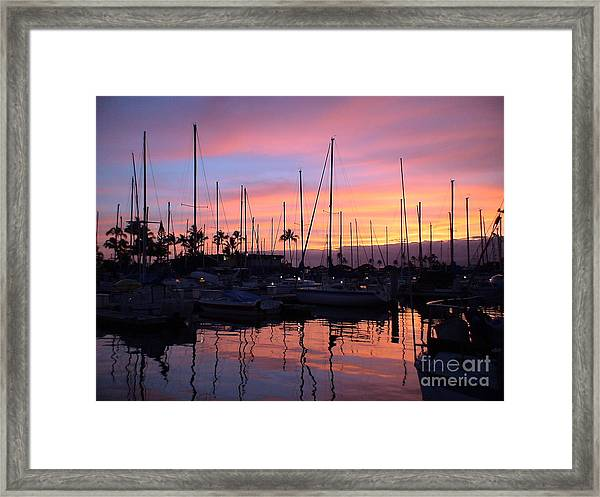 Sunset In The Ala Wai Framed Print