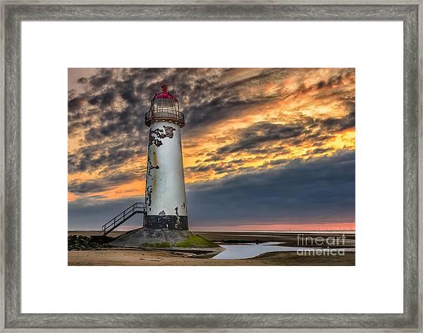 Sunset Lighthouse Framed Print