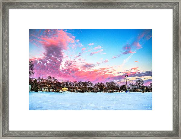 Sunset North Of Chicago Lake Michigan 1-19-14 Framed Print by Michael  Bennett