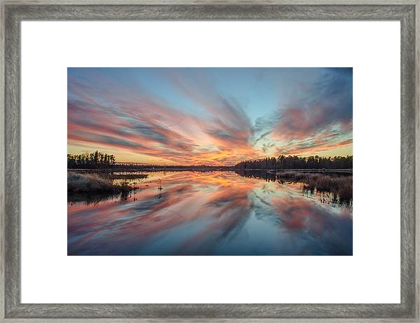 Framed Print featuring the photograph Sunset Of Fire by Beth Sawickie