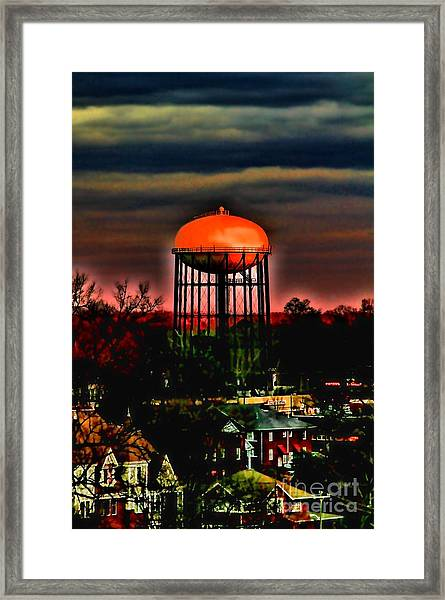 Sunset On A Charlotte Water Tower By Diana Sainz Framed Print