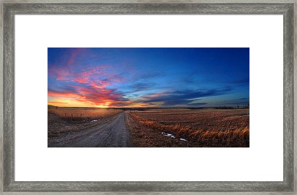 Sunset On Aa Road Framed Print by Rod Seel