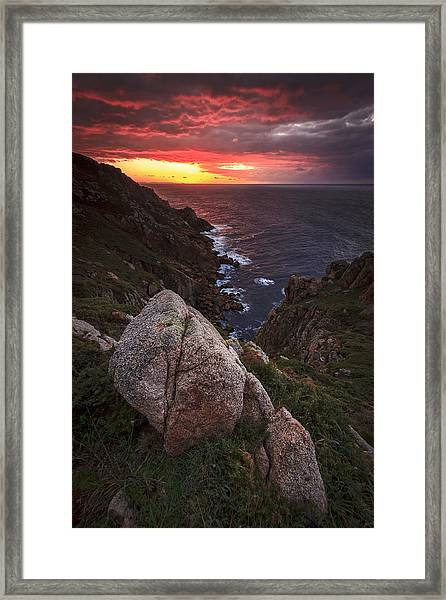 Sunset On Cape Prior Galicia Spain Framed Print