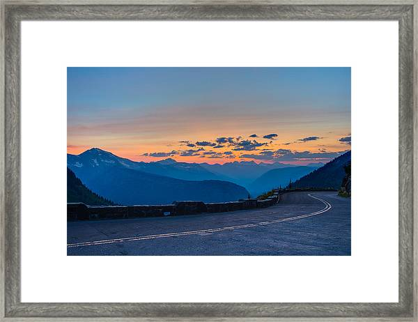 Sunset On Going-to-the-sun Road Framed Print