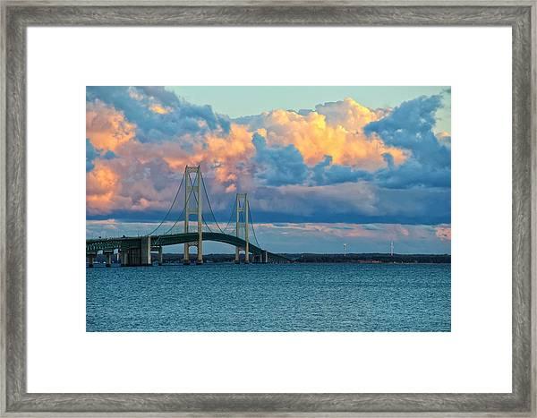 Sunset On Mackinac Bridge Framed Print