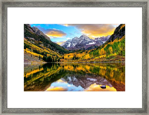 Sunset On Maroon Bells Framed Print