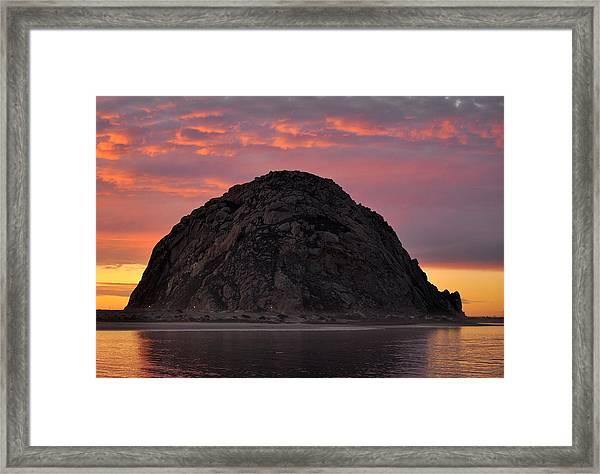 Sunset On Morro Rock Framed Print