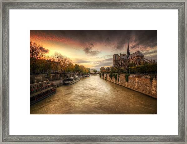 Sunset On Notre Dame Framed Print