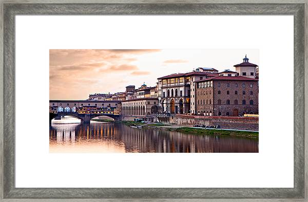 Sunset On Ponte Vecchio In Florence Framed Print