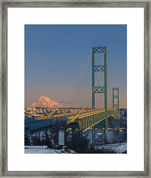 1a4y20-v-sunset On Rainier With The Tacoma Narrows Bridge Framed Print