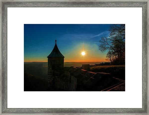 Sunset On The Fortress Koenigstein Framed Print
