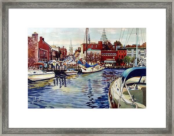 Sunset On The Harbor Framed Print