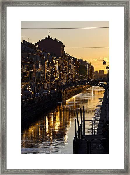 Sunset On The Navigli In Milan Framed Print