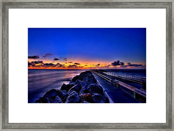 Sunrise On The Pier Framed Print