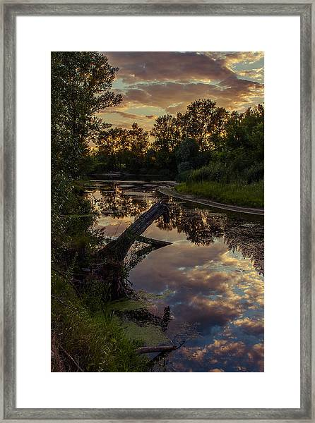 Sunset On The Quiet River Framed Print