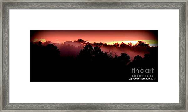 Sunset Over Blue Horse Rescue Framed Print