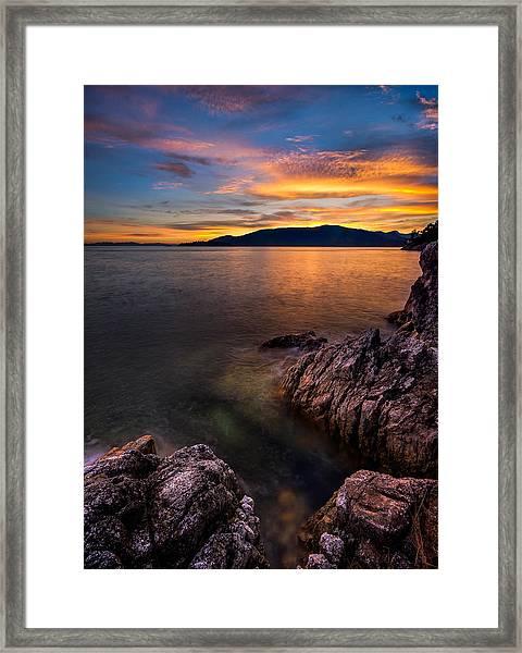 Sunset Over Bowen Island Framed Print