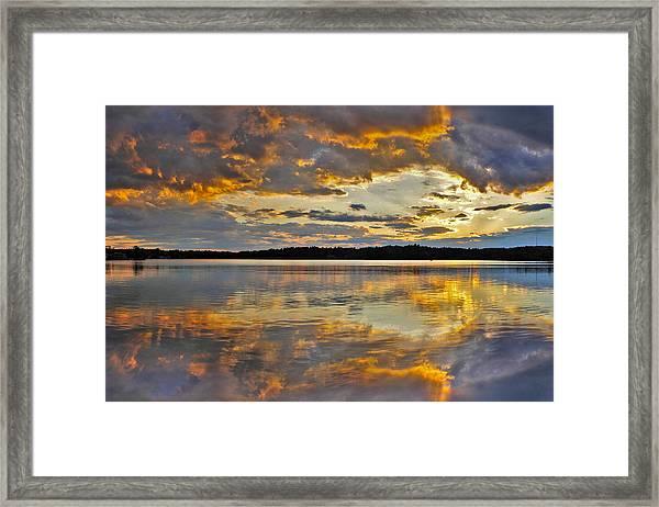 Sunset Over Canobie Lake Framed Print by Sebastien Coursol