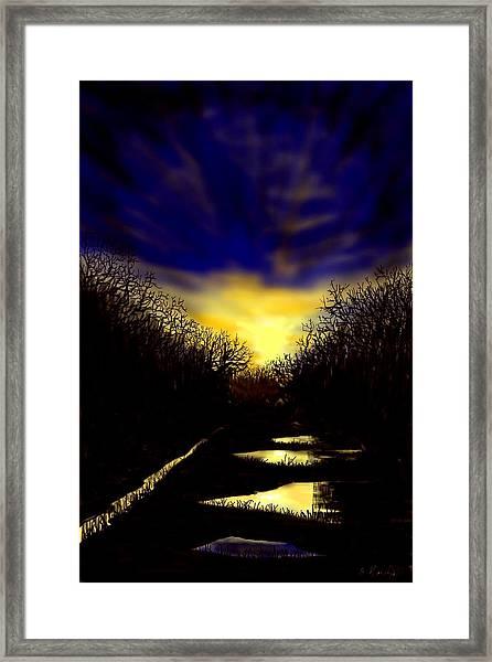 Sunset Over Disused Railway Tracks Framed Print