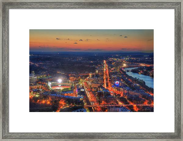 Sunset Over Fenway Park And The Citgo Sign Framed Print