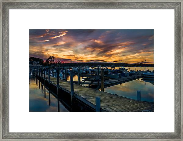 Sunset Over Marina On Mystic River Framed Print