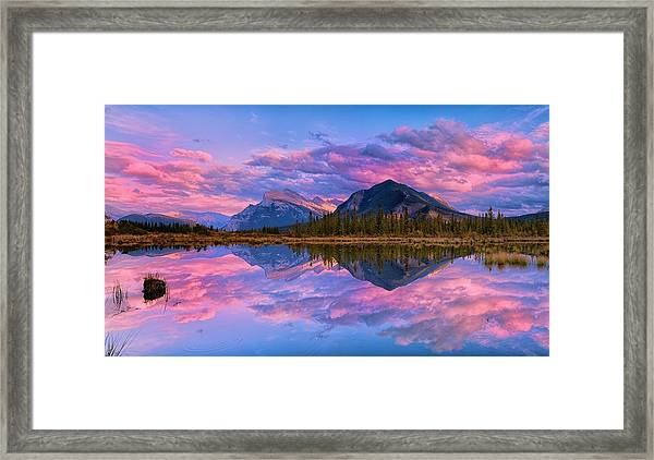 Sunset Over Mount Rundle Framed Print
