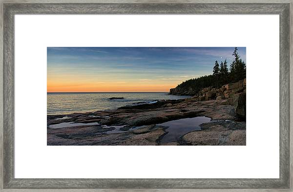 Sunset Over Otter Cliffs Framed Print