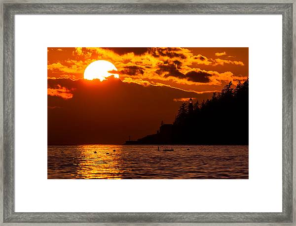 Sunset Over Point Atkinson Lighthouse Framed Print