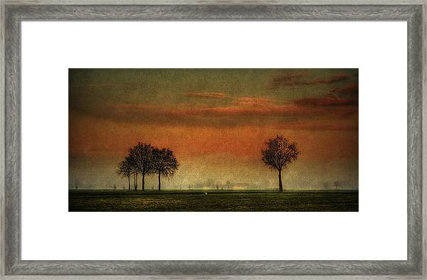 Sunset Over The Country Framed Print
