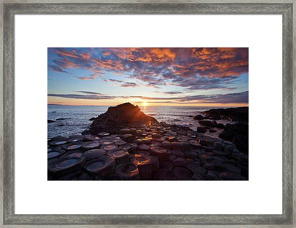 Sunset Over The Giants Causeway Framed Print
