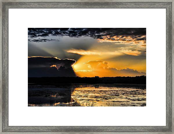 Sunset Over The Mead Wildlife Area Framed Print