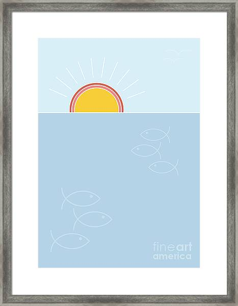 Sunset Over The Sea Background, Flat Framed Print