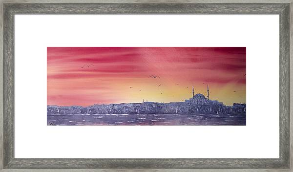 Sunset Over The Sea Of Marmar Framed Print