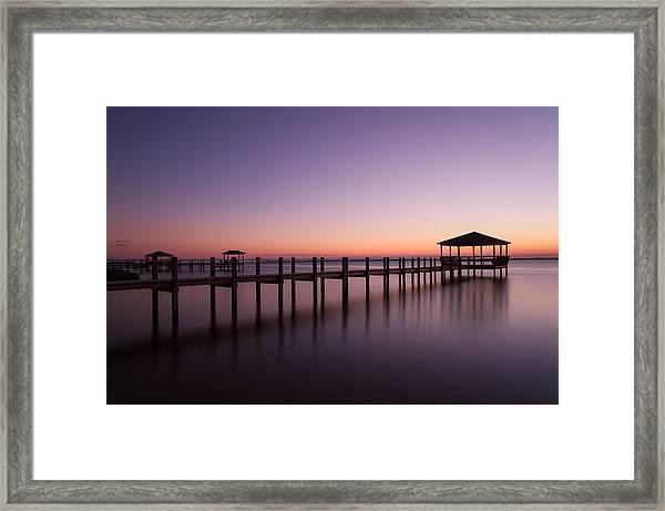 Sunset Over Town Of Duck Framed Print