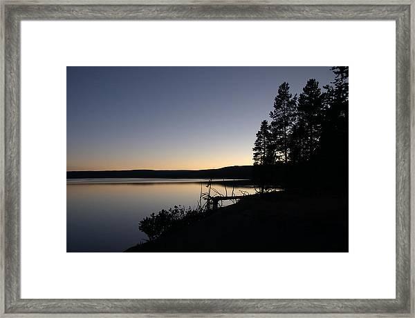 Sunset Over Yellowstone Lake Framed Print
