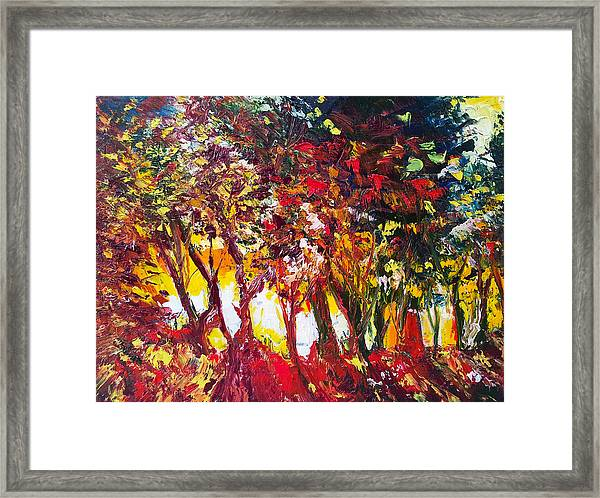 Sunset Painting Oil Fine Art Ekaterina Chenrova Framed Print