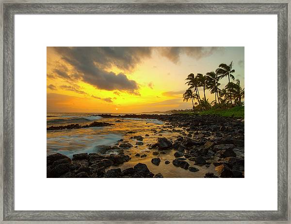 Sunset, Poipu, Kauai, Hawaii, Usa Framed Print