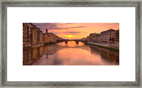 Sunset Reflections In Florence Italy Framed Print