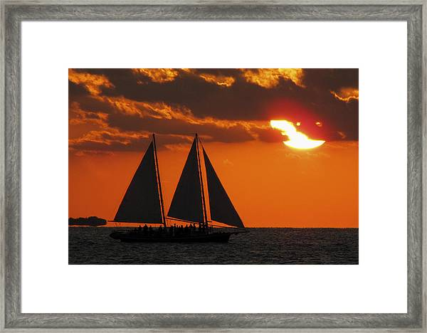 Framed Print featuring the photograph Key West Sunset Sail 3 by Bob Slitzan
