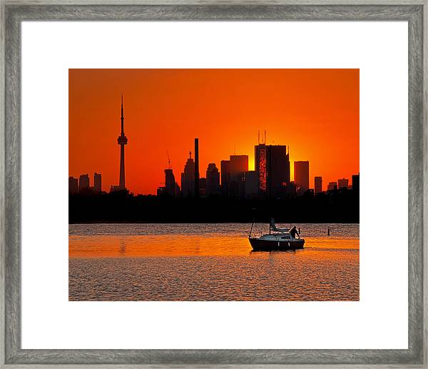 Sunset Sail Ashbridges Bay Toronto Canada Framed Print