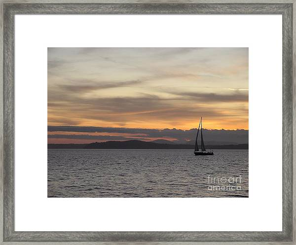 Sunset Sail In Seattle Framed Print