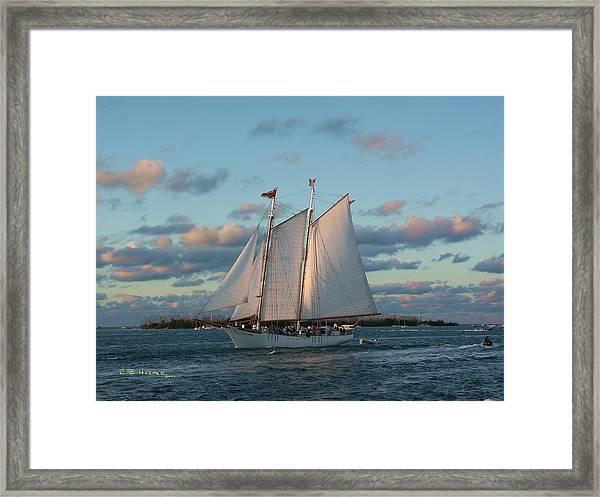 Sunset Schooner Framed Print