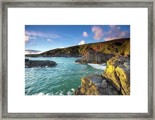 Sunset Taken From Polhawn Whitsand Bay Framed Print