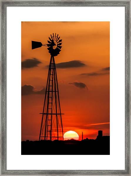 Sunset Windmill Framed Print