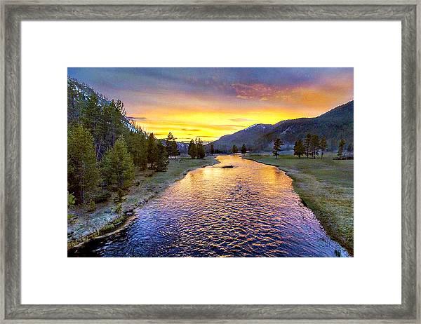 Sunset Yellowstone National Park Madison River Framed Print