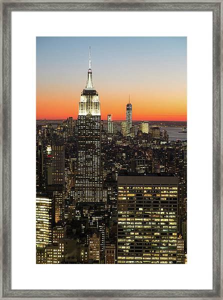 Sunsets On Empire Framed Print