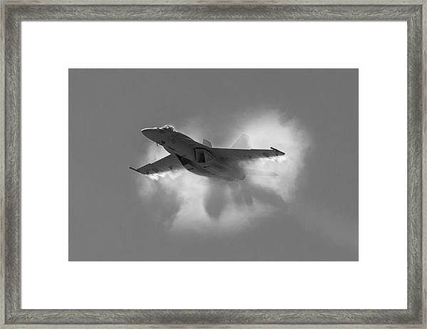 Super Hornet Shockwave Bw Framed Print