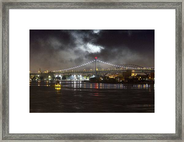 Super Moon And Triboro Bridge Framed Print